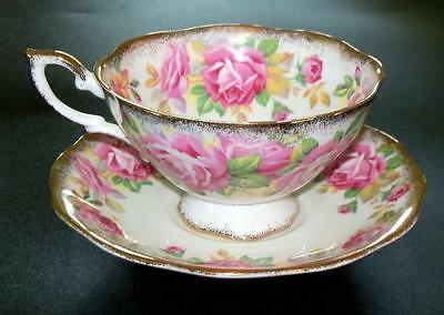 Royal Standard Bone  China Tea Cup & Saucer Pink Roses Gold Gilding Wide Mouth