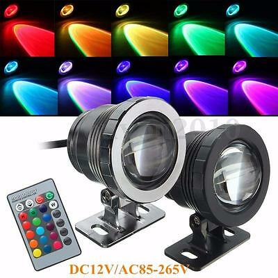 10W RGB LED Light Fountain Pool Pond Spotlight Underwater Waterproof 85-265V/12V