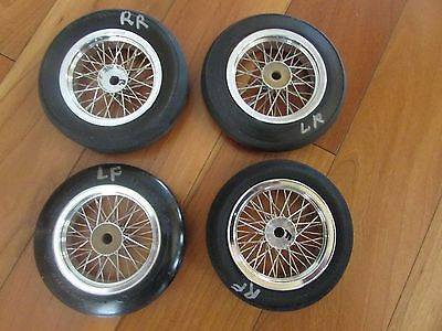 Custom hand laced 48 spoke wire wheels aluminum rims 3 1/2  3 5/8 dia. w/ tires