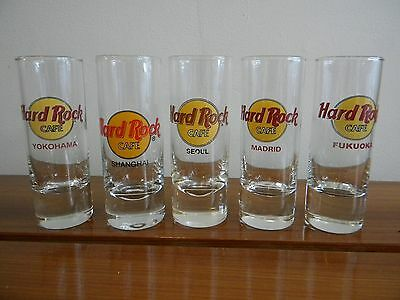 "LOT of HARD ROCK CAFE 4"" SHOT GLASS YOKAHAMA SEOUL FUKUOKA SHANGHAI MADRID"