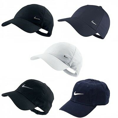 Mens Nike Swoosh Metal Sports Cap Golf Baseball Adjustable Hat White Navy Black