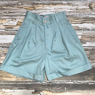 Vintage Esprit Sport High Waist Shorts 3 4 Womens Mint Green Cuffed Pleat 90's