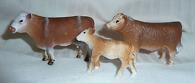 Toy Beef Cattle Family, Bull, Cow and Calf made by New Ray