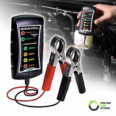 OLS 12/24V DC Battery Alternator Tester Check with Large Clamps And LED Display