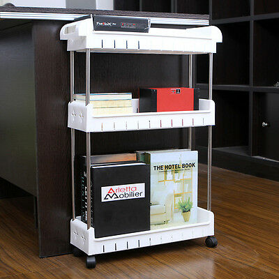 Rolling Shelf Slide Out Storage Tower Home Rack Organizer Slim 3-tier Cupboard