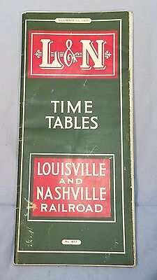 1936 Vintage L&n Louisville And  Nashville Railroad Train Time Table Schedule