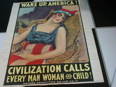 """Vintage Wake Up, America! James M. Flagg  Military Book Club WWI Poster 16X20"""""""