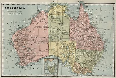 AUSTRALIA Continent Map: Authentic 1899; with Cites, RRs, Rivers, Topography +