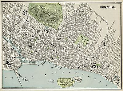 Montreal Canada Street Map: Authentic 1887; with Stations, Landmarks & more