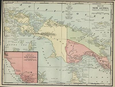 New Guinea Map, 1887: Colonial Rule - Dutch, Germany, England: Topography Cities