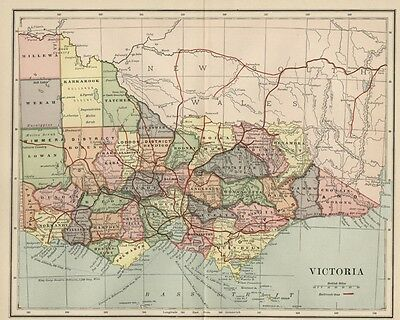 Victoria Australia Map: 1891 showing Towns, Counties, Railroads, Topography
