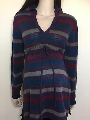 EUC DEREK HEART maternity XL Striped Top Long Sleeve Hooded Knit Sweater Hoody