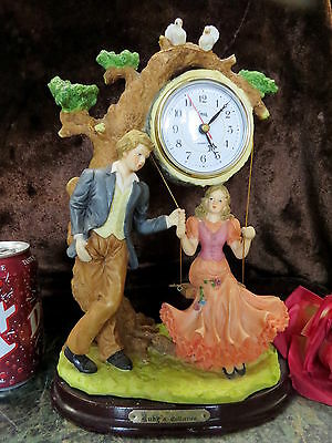 Man, Woman on Swing, Birds, Large Clock HAND CRAFTED 1995 EXQUISITE DETAIL!
