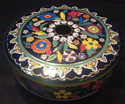 Vintage Daher Decorative Floral Tin Container Blue Red Yellow Made in England