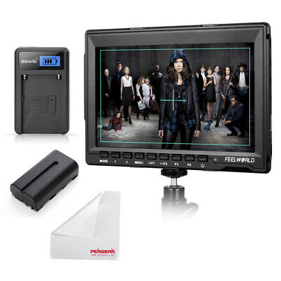 "Feelworld FW759 7"" IPS Camera Video Field Monitor +NP-F550 Battery +Charger"