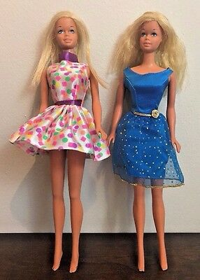 Vintage 1966 Barbie Doll Twist Turn Blonde Hair Japan Dresses Yellow Polka Lot 2