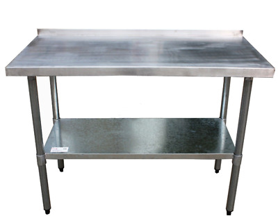 FoxHunter StainlessSteel Catering Table/Work Bench With Backsplash 2ftx5ft