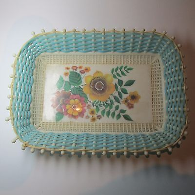 Vintage Plastic fantastic 1950s Tray with Floral printed Centre