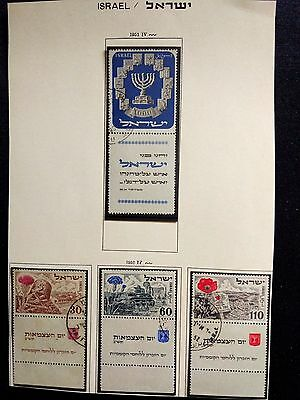 ISRAEL 1952 STAMPS MENORAH+5'th INDEPENDENCE  CANCELD+TABED CV 150$+ LOW BIDDING