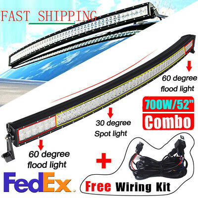 """500W 52"""" Curved Combo CREE LED LIGHT BAR Offroad Truck SUV 4WD Car+ Free Wire"""