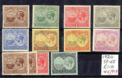 Bermuda KGV 1920 Tercentenary Set To 1/- Plus SG59/67 Mint MLH X6849