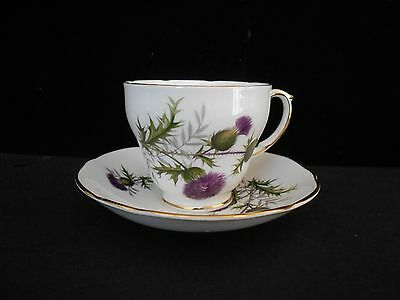 Vintage Duchess Bone China England Cup & Saucer Highland Beauty Thistle