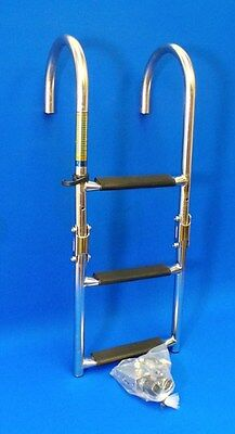 Quality Stainless Steel 3 Step Marine Folding Boarding Ladder - Boat Yacht SS2