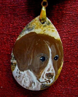 German Shorthaired Pointer hand painted on teardrop pendant/bead/necklace