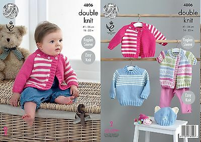 King Cole DK Knitting Pattern 4806:Baby Cardigans,Sweater & Hat