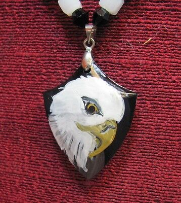 Eagle hand painted on cheveron shaped pendant/bead/necklace