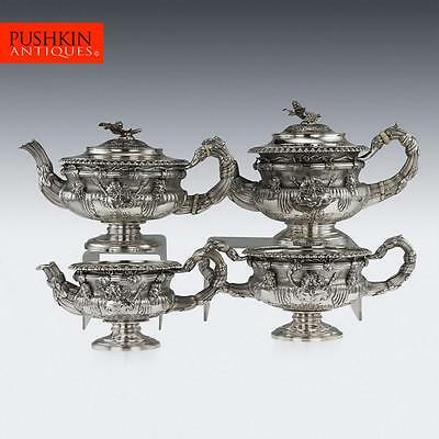 ANTIQUE 19thC GEORGIAN SOLID SILVER WARWICK TEA & COFFEE SET, HENNELL III c.1820