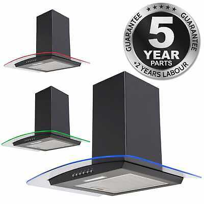 SIA CPLE71BL 70cm 3 Colour LED Curved Glass Black Cooker Hood Extractor Fan