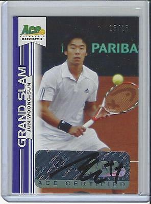 2013 Ace Authentic Grand Slam Tennis Purple Auto Autogramm Jun Woong Sun 15/15