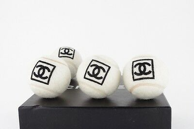 CHANEL set of 4 Tennis Balls Collector Sport VIP gift display Authentic CC logo