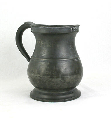 Antique Victorian Quart Pewter Tankard James Yates Verification Mark