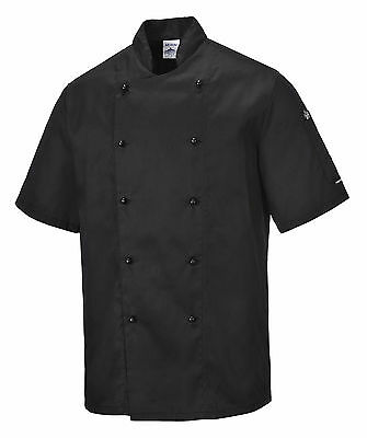 Chef Jacket Black Short Sleeve XS-5XL Bakers chef's uniform Snack Grill