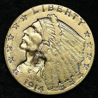1914-D Gold $2.50 Dollar Quarter Eagle CHOICE AU+/UNC FREE SHIPPING E389 NNT