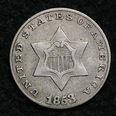 1853 Double Date! Three Cent Silver CHOICE XF/AU FREE SHIPPING E183 AMT
