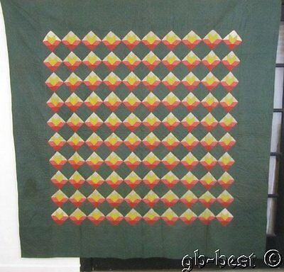 RARE 1890-1900s Goose Track Antique QUILT 82 x 83 Small Scale GREEN Yellow Pink