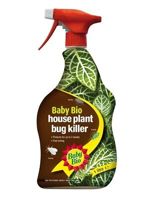 Baby Bio House Plant Insecticide Bug Killer - 1L Spray Bottle