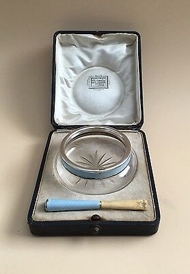 Lovely Cased Sterling Silver & Glass Enamel Bowl & Cheroot, C1900