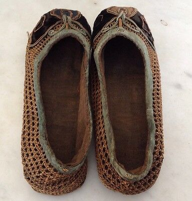 Antique/vintage Embroidered childs shoes/ slippers - Leather Soles