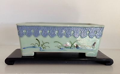 Old Qing Republic Chinese Celadon Porcelain Narcissus Pot Planter Bowl ~Stand~