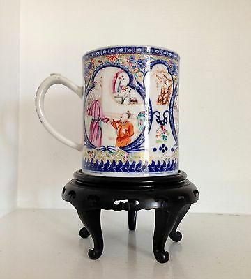 Exquisite Antique Qing Chinese EXPORT Porcelain Mug Cup ~Highly Decorated ~Stand