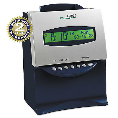 Es1000 Totalizing Digital Automatic Payroll Recorder/time Clock, Blue And Silver