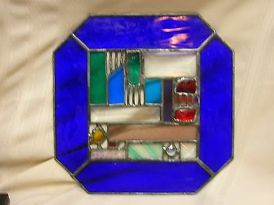 "Leaded Stain Glass Window Art Blue Red Green Purple 10"" X 10"" Sun Catcher"