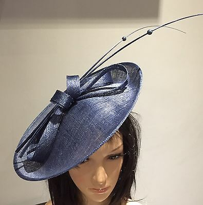 NAVY BLUE WEDDING ASCOT OCCASION DISC FASCINATOR HAT Mother Of The Bride