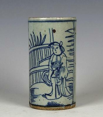 chinese ancient Blue and white porcelain sculpture figure Brush pot