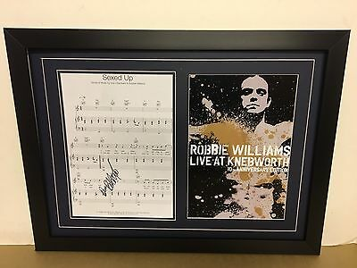 Robbie Williams Genuine Hand Signed/Autographed Songsheet with a Photo and COA