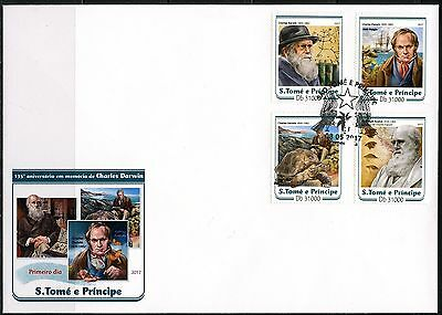SAO TOME 2017 135th MEMORIAL OF  CHARLES  DARWIN  SET  FIRST DAY COVER